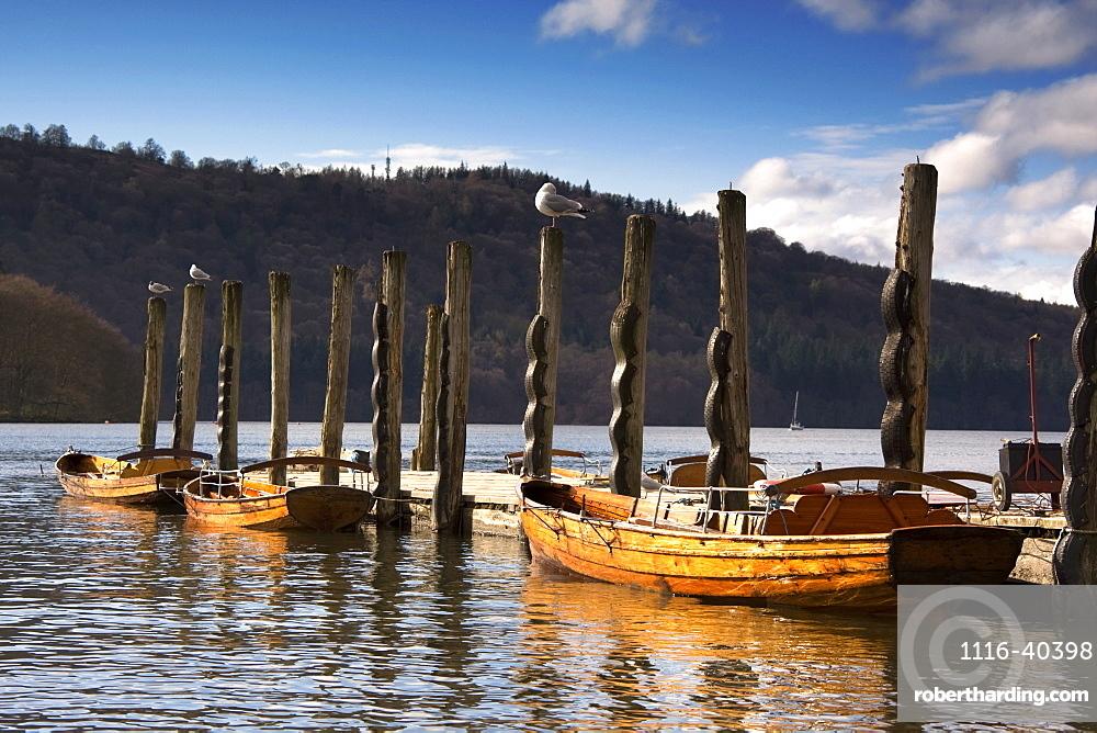 Boats Docked On A Pier, Keswick, Cumbria, England