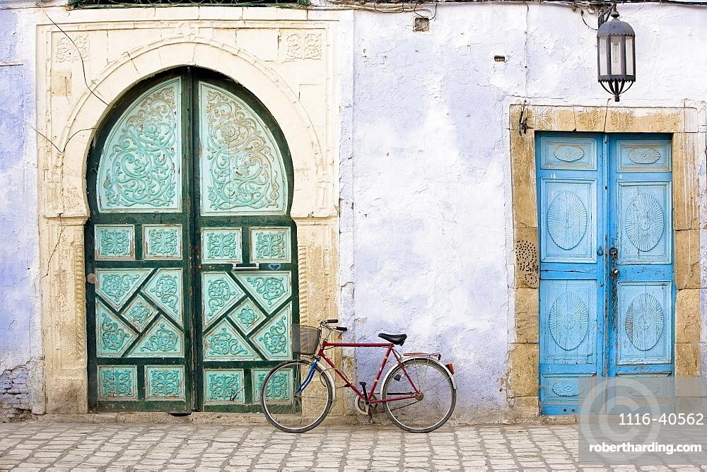 Bicycle And Blue Doors, Kairouan, Tunisia, Africa