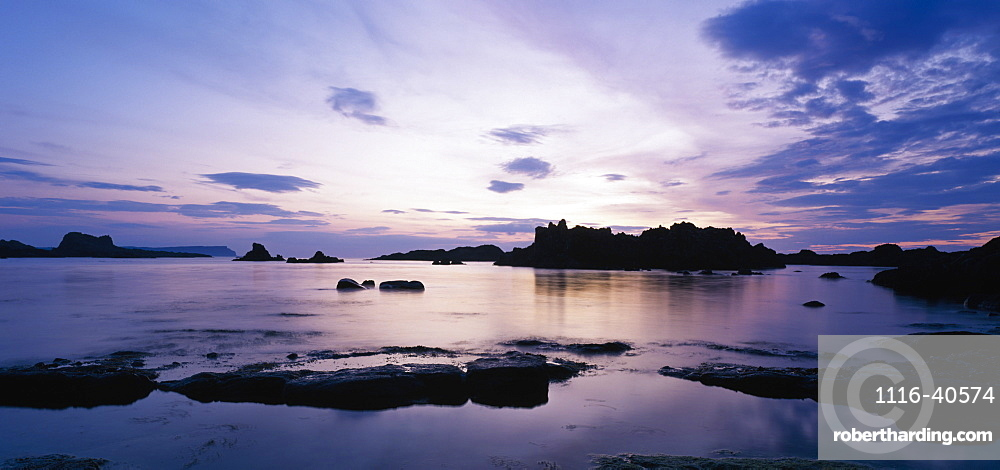 Whitepark Bay At Sunset, Whitepark Bay, Ballintoy, Co Antrim, Northern Ireland