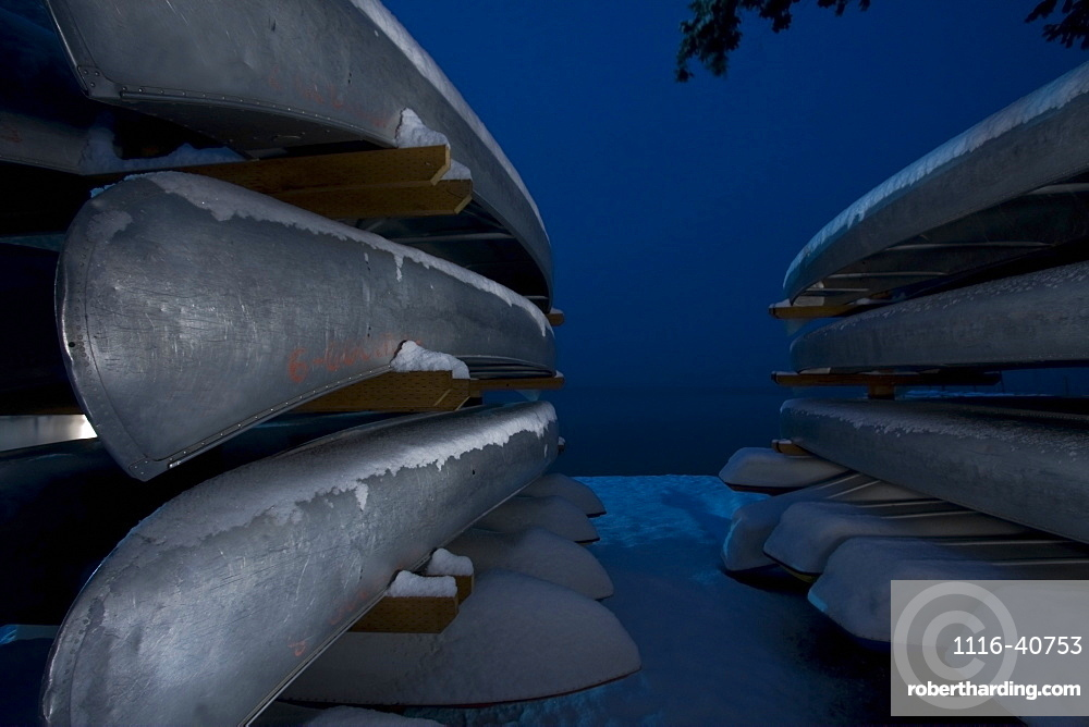 Snow Covered Canoes