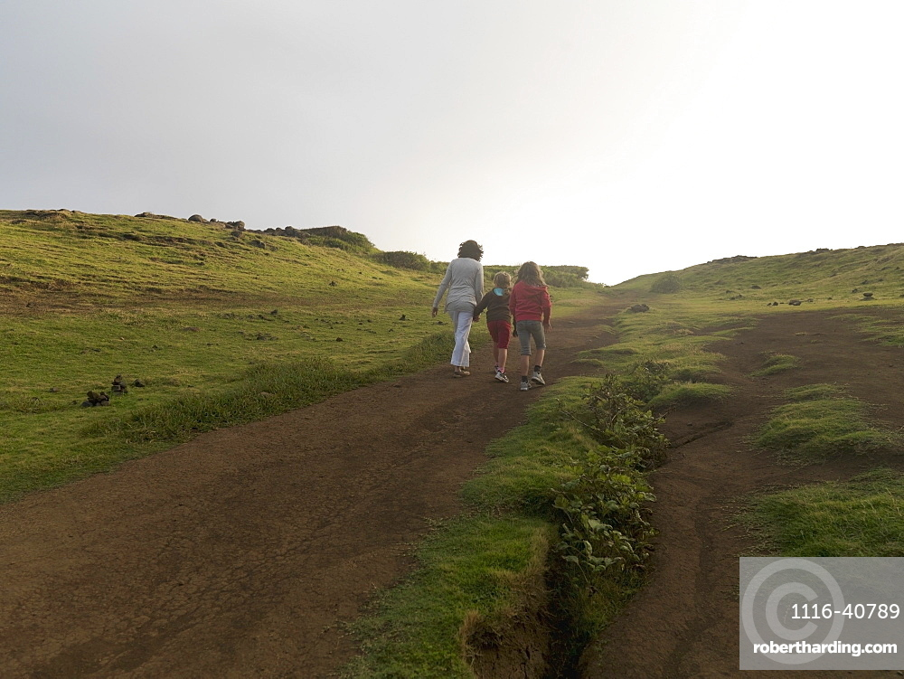 Mother And Daughters Walking Together, Maui, Hawaii, Usa