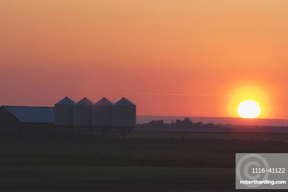 Farmyard And Grain Silos South Of High River, Alberta, Canada