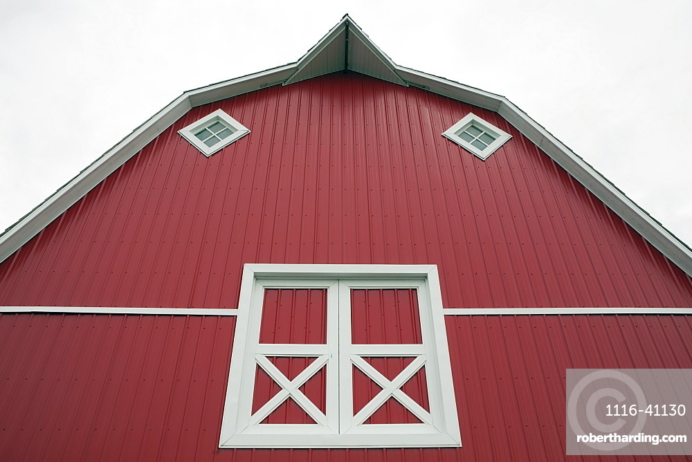 Alberta, Canada, Red Barn With White Trim