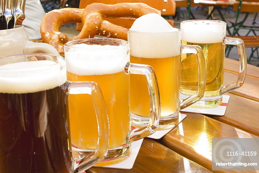 Mugs Of Beer And A Pretzel