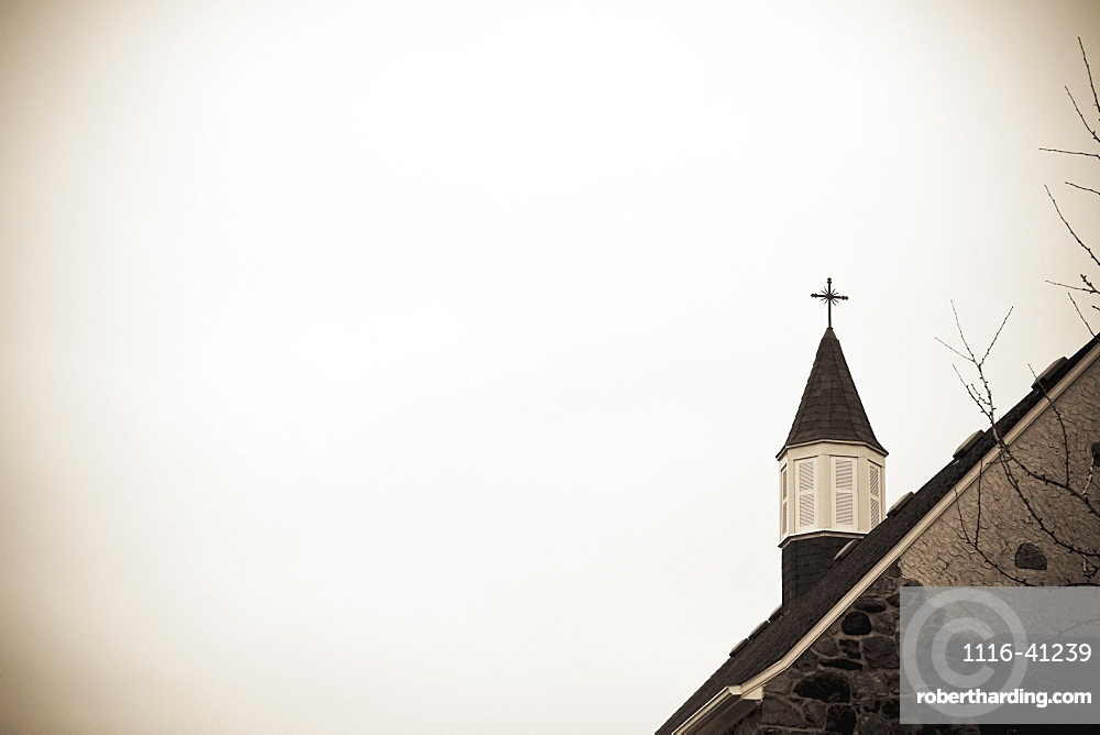 A Church Steeple With A Cross, Jordan, Ontario, Canada