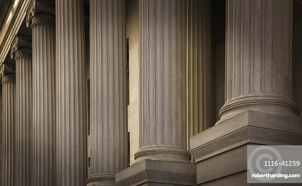 New York City, New York, United States Of America, Stone Pillars On A Building
