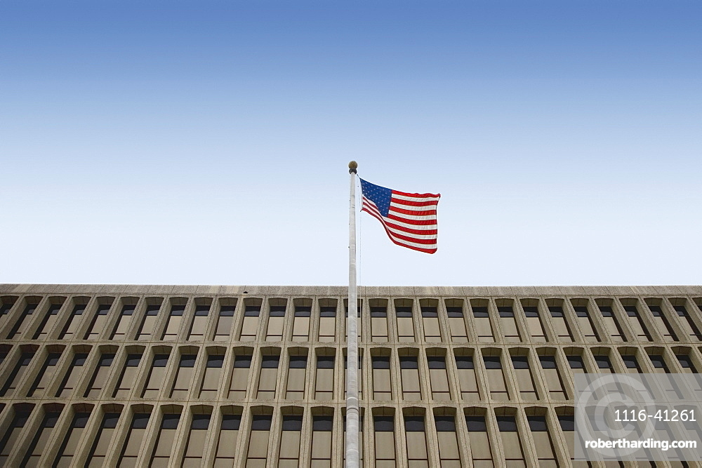 San Antonio, Texas, United States Of America, American Flag In Front Of A Building
