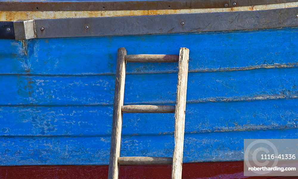 Craster, Northumberland, England, A Wooden Ladder Propped Against The Side Of A Boat