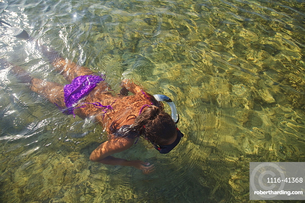 Roatan, Bay Islands, Honduras, A Young Woman Snorkeling At Anthony's Key Resort