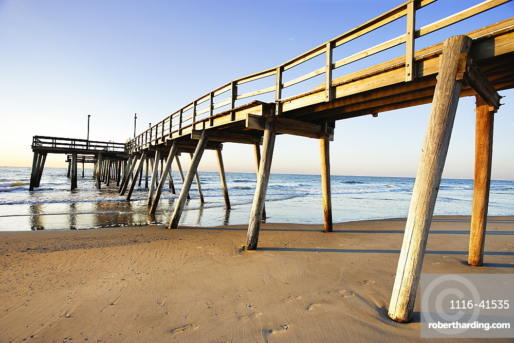 View Of Pier And Beach At Sunrise, New Jersy, Usa.