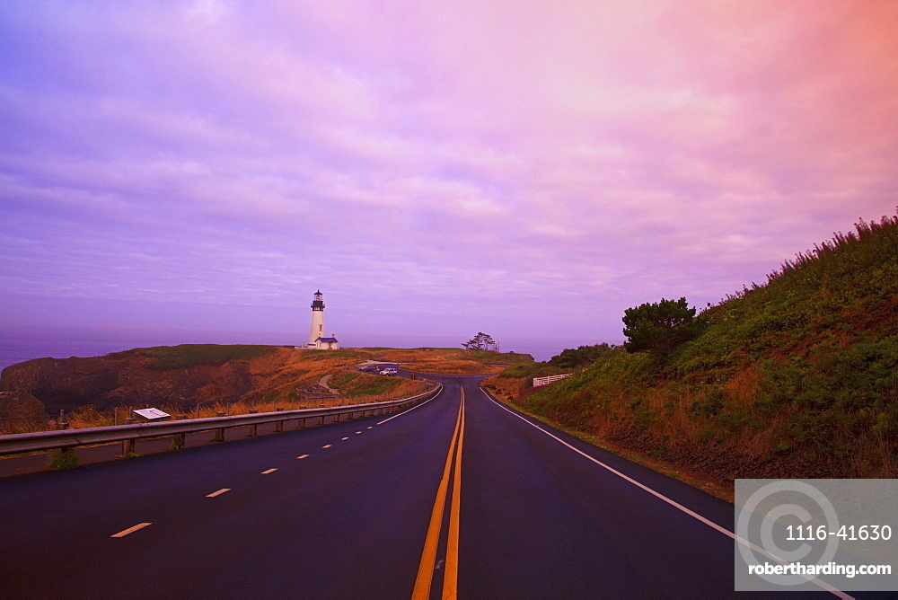 Morning Light Over Yaquina Head Lighthouse And The Highway, Newport, Oregon, United States of America