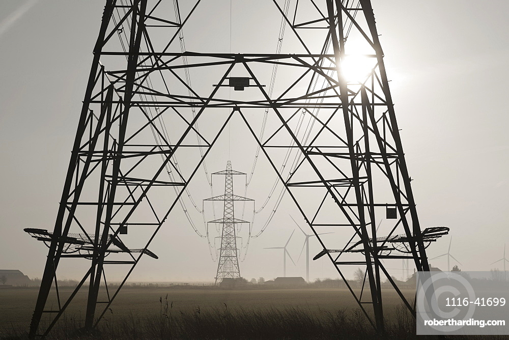 Misty morning at the little cheyne court wind farm at romney marsh, Kent east sussex england