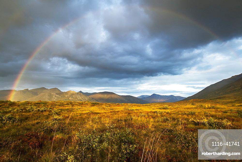 A Rainbow In The Sky Over Brooks Range, Gates Of The Arctic National Park In Northwestern Alaska, Alaska, United States Of America