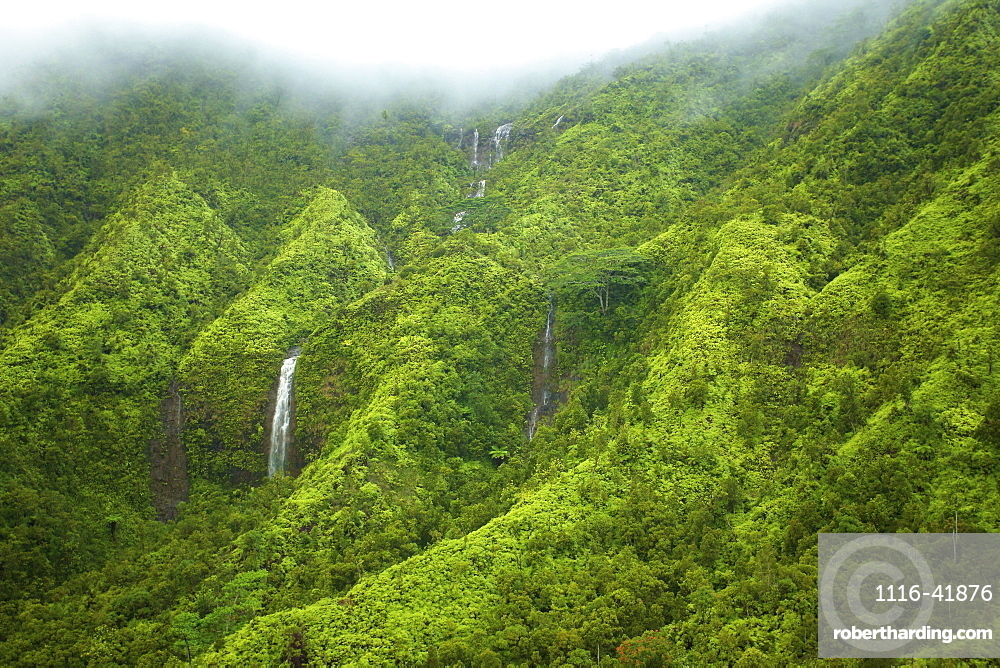 Waterfalls flowing through lush green hills under the low lying clouds, Hawaii united states of america