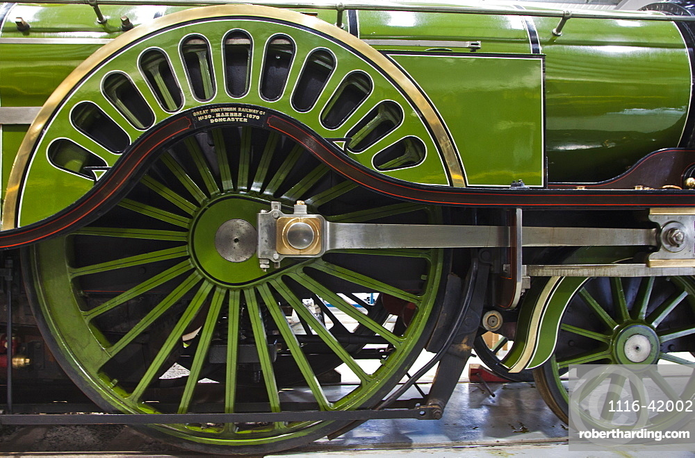 A Shiny Green Vintage Vehicle With Large And Small Wheels, Shildon, Durham, England
