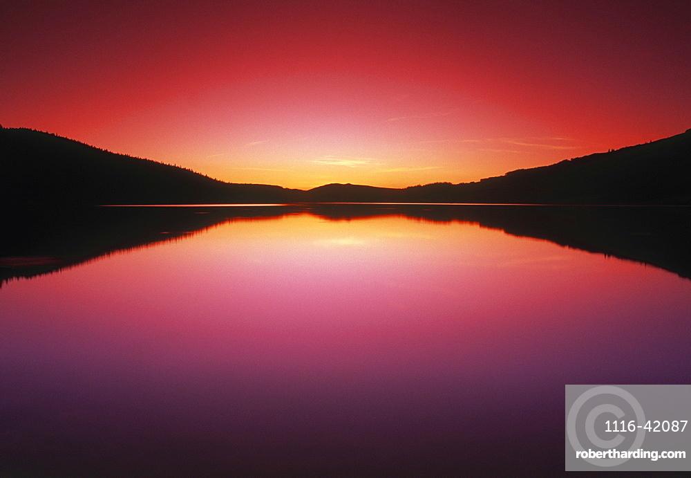 Reesor Lake At Sunset, Cypress Hills Interprovincial Park, Alberta, Canada