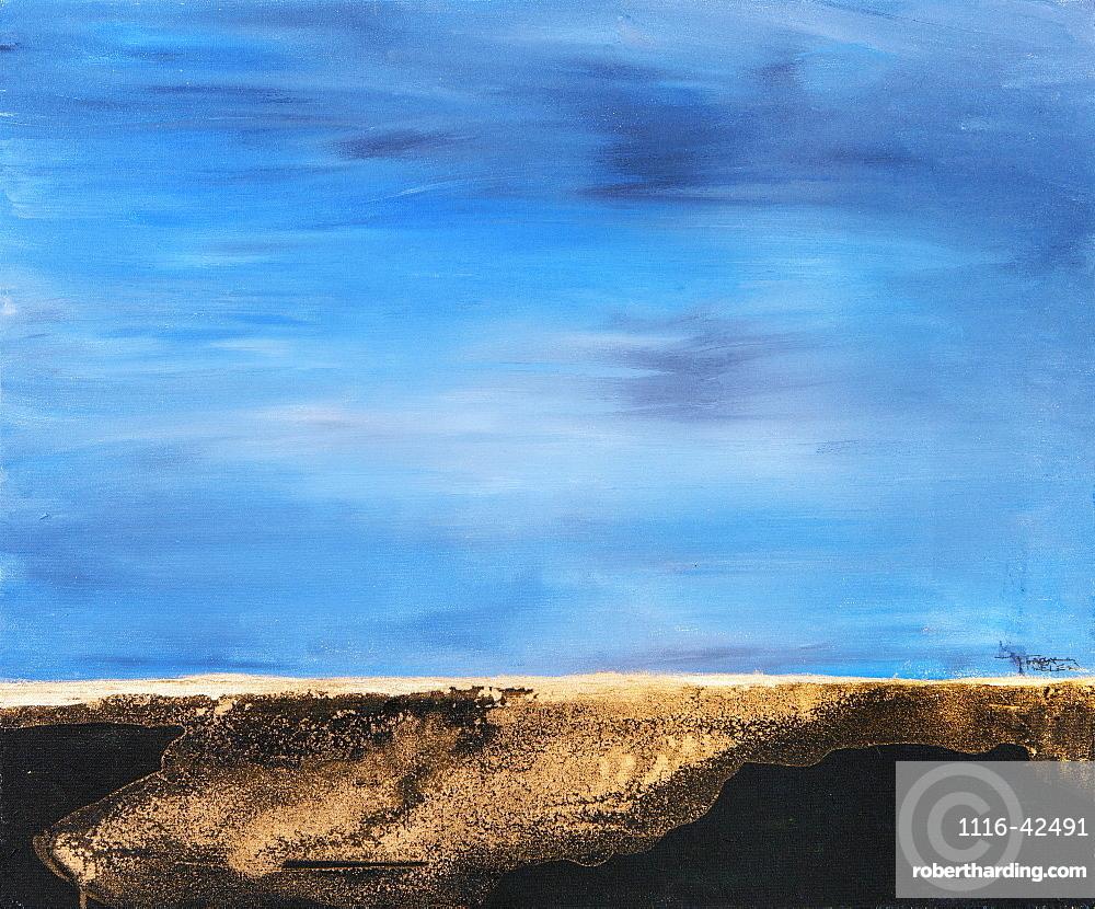 Painting Of Brown Land Meeting Blue Sky