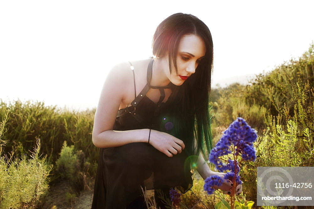 A Young Woman Touching A Purple Flower With The Sun Behind Her, California, United States Of America