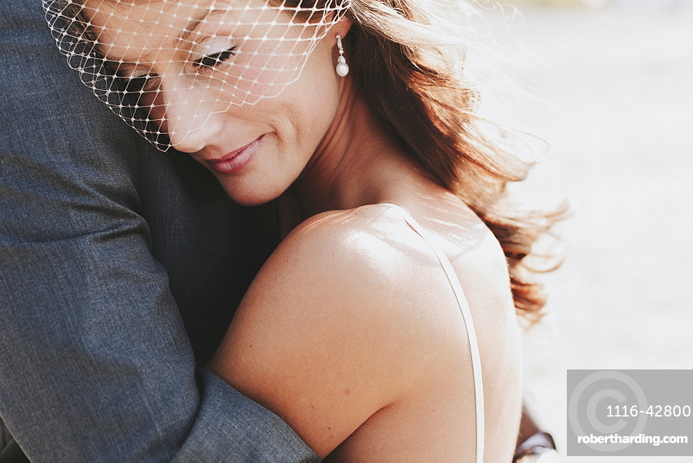 A bride and groom in an embrace, Kirkland washington united states of america