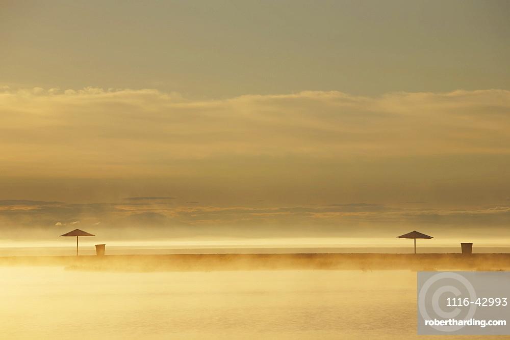 Northern Lake Baikal At Dawn On A Misty Summer Morning, Severobaikalsk, Buryatia, Siberia, Russia