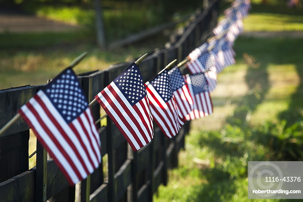 Black Wooden Fence Trailing Off With Small US Flags Hanging From Each Post, United States Of America