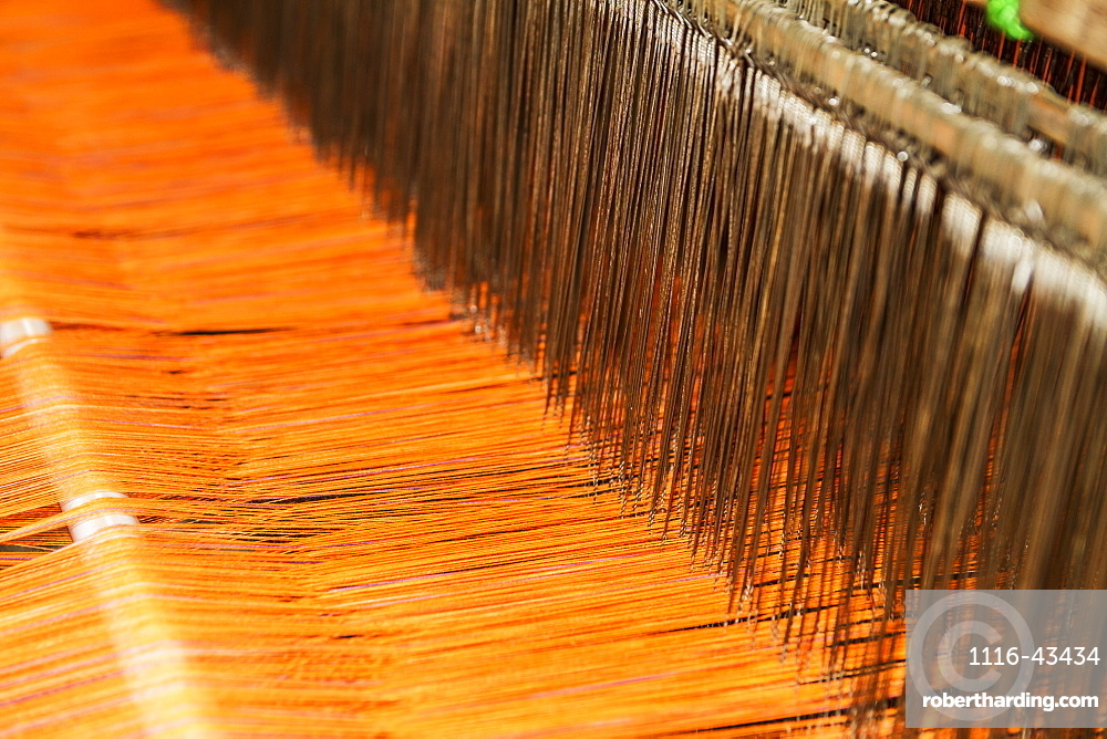 Traditional Lurik Cloth Being Woven On A Loom In A Lurik Workshop In Cawas Village, Klaten, Central Java, Indonesia
