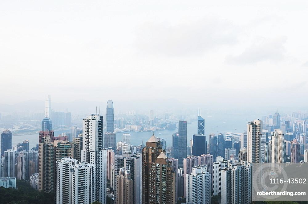 View From Victoria Peak Of The Island Of Hong Kong, Hong Kong, China