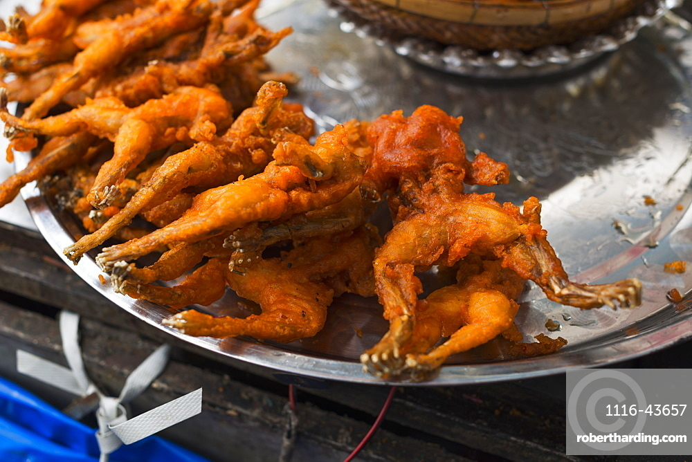 Fried Frogs In A Local Market, Phnom Penh, Cambodia