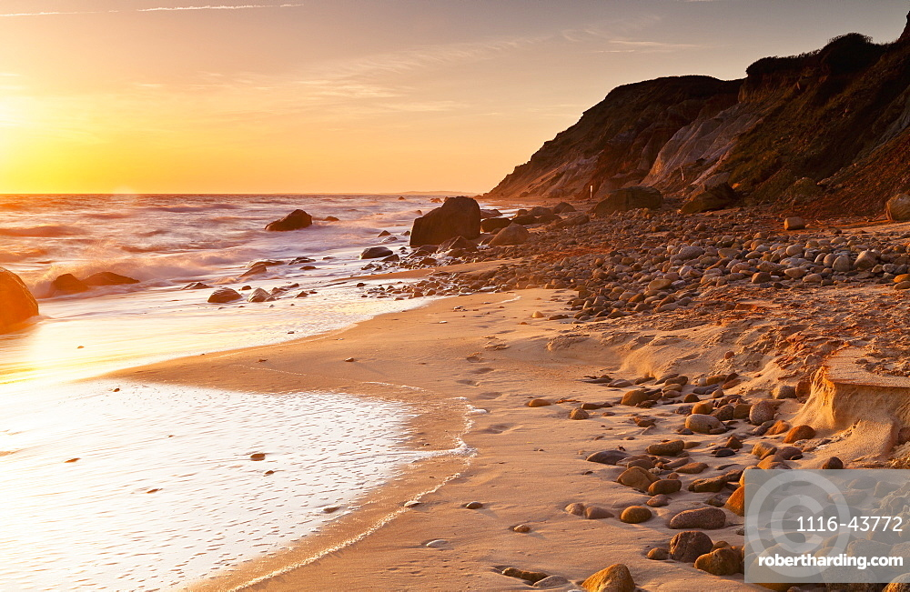 Gay Head Public Beach At Sunset, Martha's Vineyard, Massachusetts, United States Of America