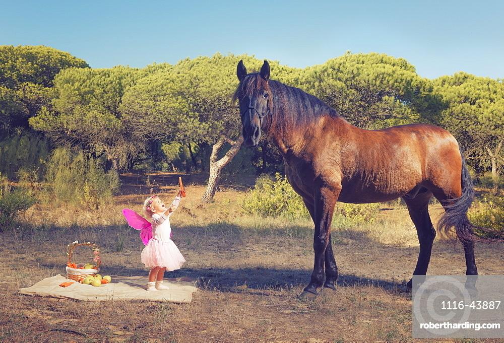Young Girl With Pink Ferry Wings And A Brown Horse, Tarifa, Cadiz, Andalusia, Spain