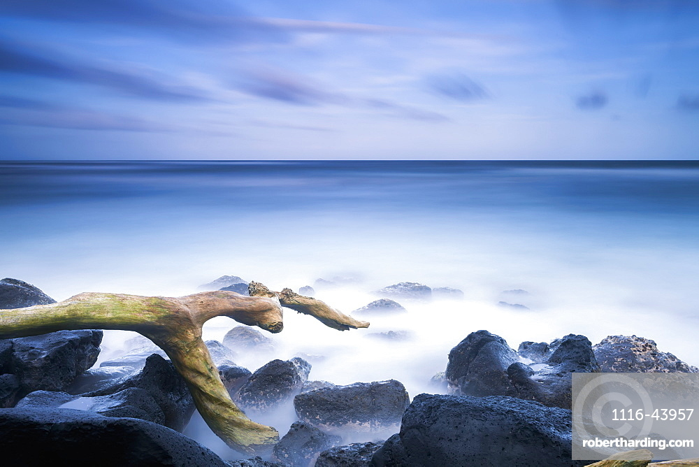 Long Exposure Of The Surf Along Wailua Beach, Wailua, Kauai, Hawaii, United States Of America