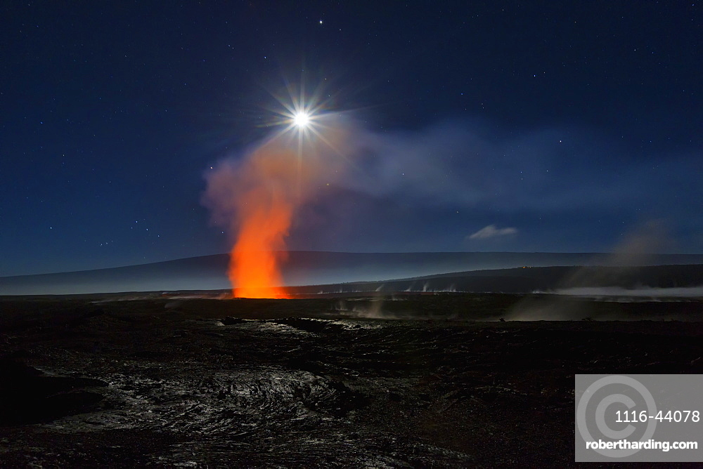Full Moon Over Halemaumau Crater Within The Much Larger Summit Caldera Of Kilauea In Hawaii Volcanoes National Park, Steaming Vents In Foreground, Mauna Loa Mountain In Background, Island Of Hawaii, Hawaii, United States Of America