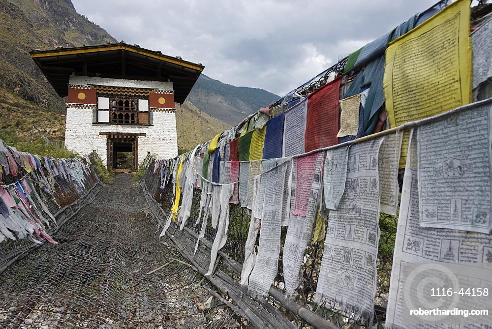 Suspension Bridge Made From Wood And Chain Across Paro River, Near Tachog Lhakhang Dzong, Paro, Bhutan