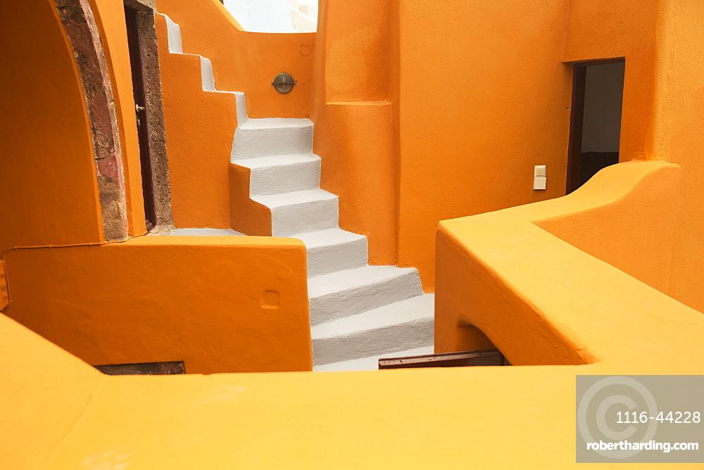 Colourful Residential Buildings And Steps, Oia, Santorini, Greece