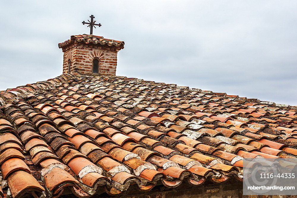 Tiles And Cross On Roof Of Monastery Varlaam, Meteora, Greece