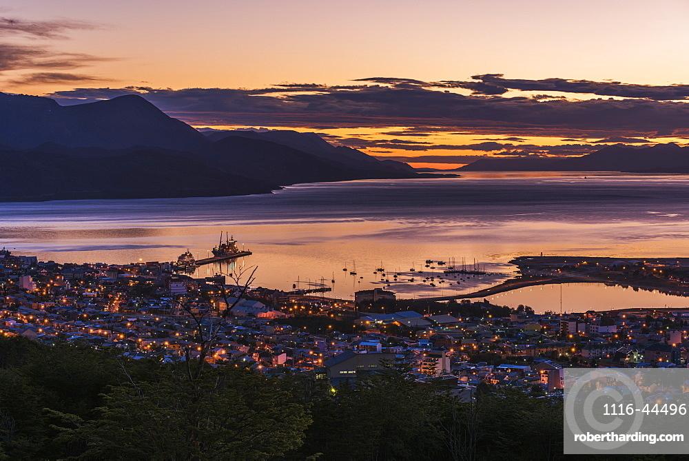 Orange And Purple Pre-Dawn Light Over Ushuaia, Ushuaia, Antarctica