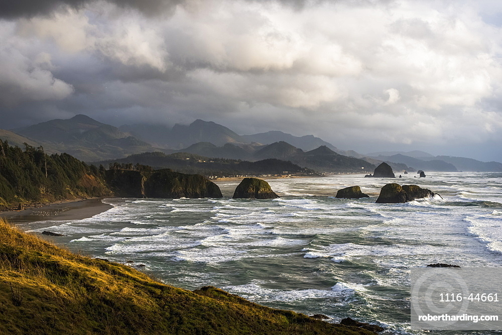 Clouds Hang Low Over The Oregon Coast, Cannon Beach, Oregon, United States Of America