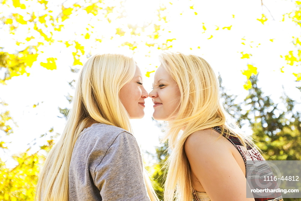 Two Sisters In A City Park In Autumn Being Silly And Touching Noses, Edmonton, Alberta, Canada