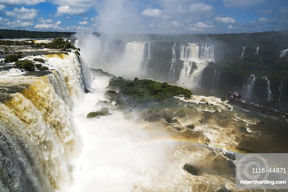 Rainbow By Public Walkway At Iguazu Falls, Parana, Brazil