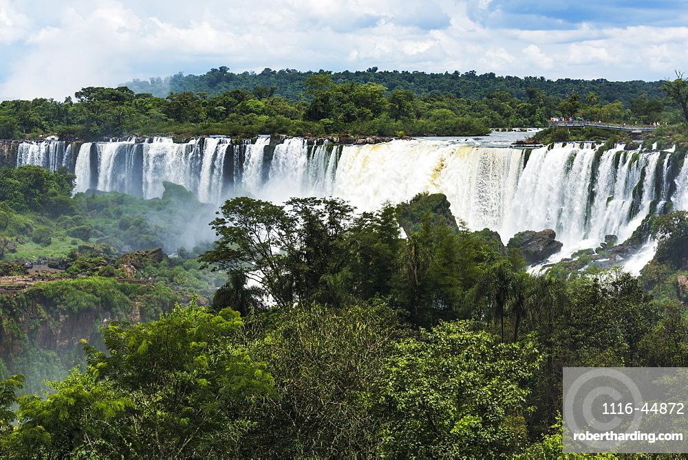 People On Observation Deck Watching Iguazu Falls, Parana, Brazil