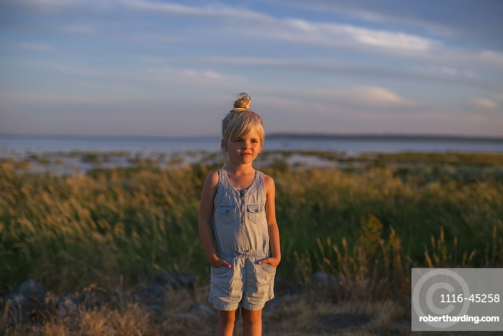Portrait Of A Young Girl On A Beach At Sunset, Surrey, British Columbia, Canada