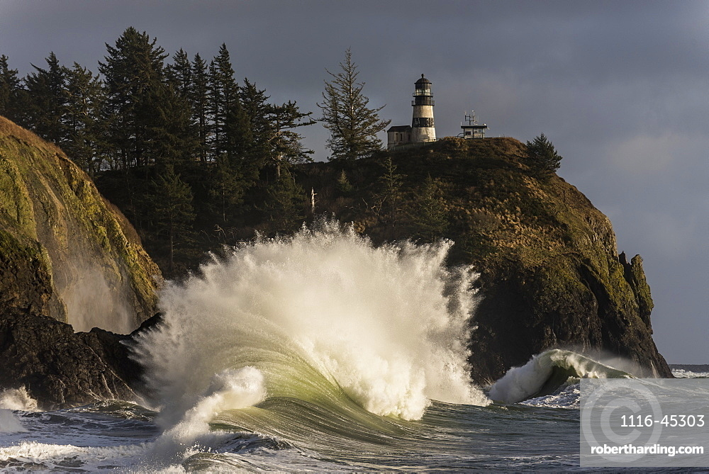 A Wave Explodes At Cape Disappointment, Ilwaco, Washington, United States Of America