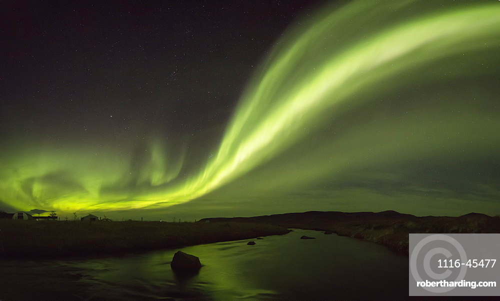 Northern Lights Over A River And Farm In Northeast Iceland, Iceland