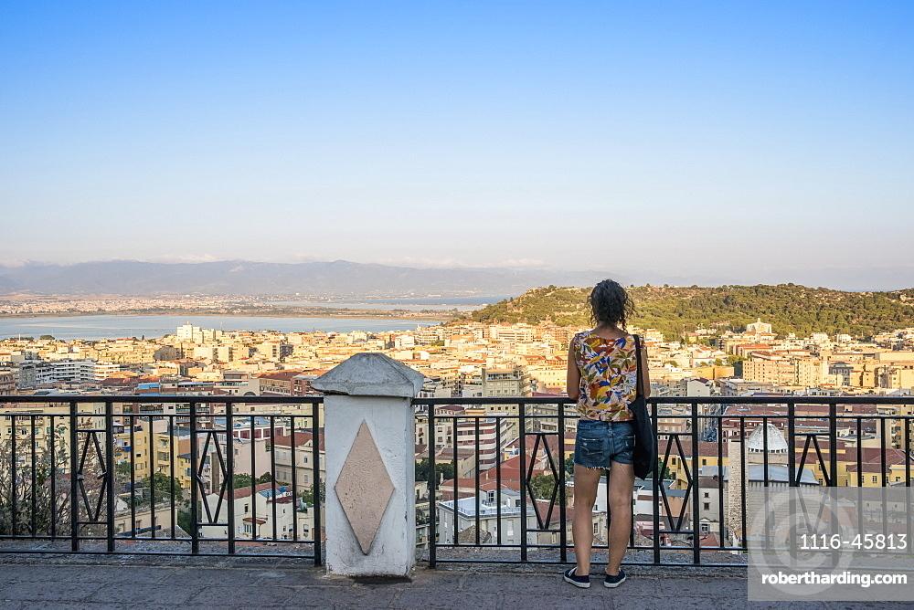 Girl Enjoying The Panoramic View Of The City Of Cagliari, Cagliari, Sardinia, Italy