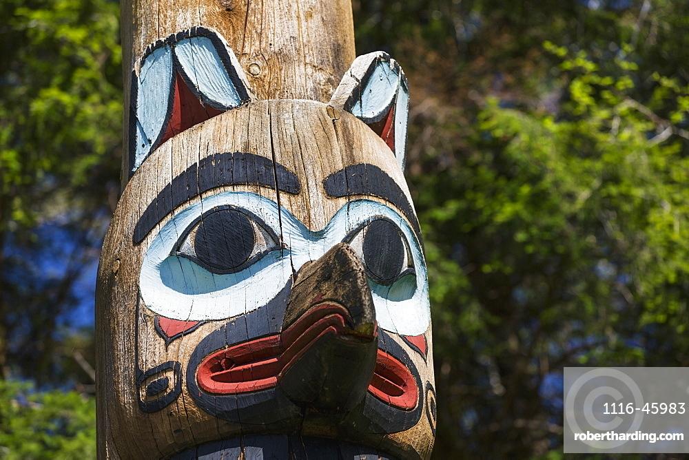 Detail Of A Raven Figure Carved Into A Totem Pole, Totem Bight State Historical Park, Ketchikan, Southeast Alaska, USA, Spring