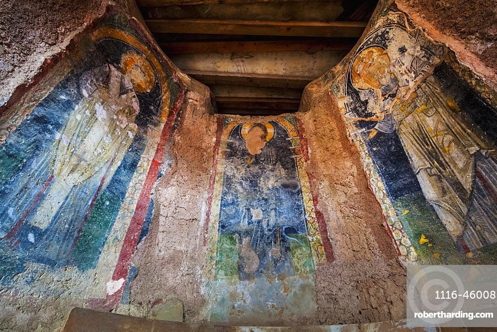 Three Panels Of A Fresco In A Church, Ephesus, Turkey