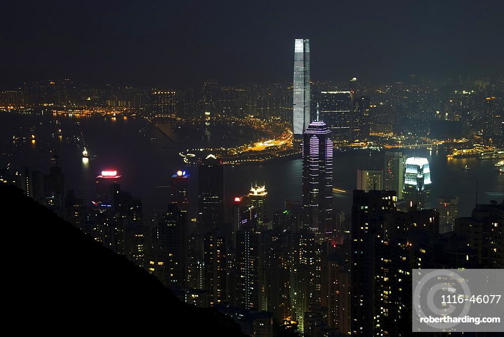 Victoria Harbour Docks Lit Up At Night, Hong Kong, China
