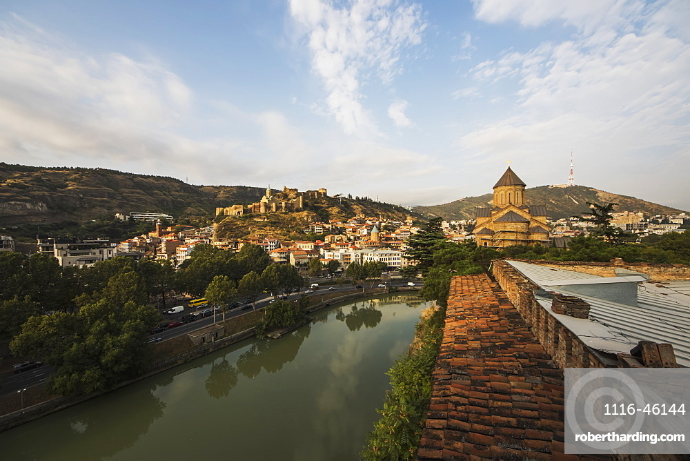 Panoramic View Of The Mtkvari River With The Narikala Fortress, Tbilisi, Georgia