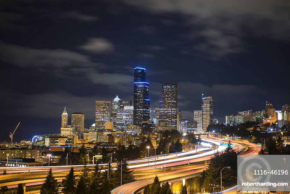 Night Image Of Seattle Cityscape And I-5 On A Cloudy Night, Seattle, Washington, United States Of America