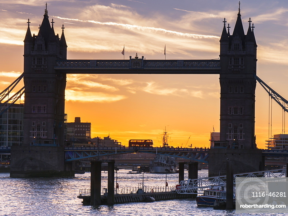 Silhouette Of Tower Bridge At Sunset, London, England